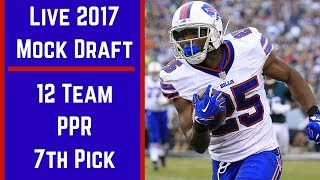 Live 2017 Fantasy Football Mock Draft - 12 Team PPR Free HD Video