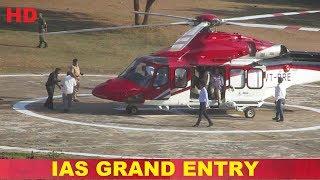 Chief Secretary Somesh kumar IAS reaches Karimnagar in helicopter