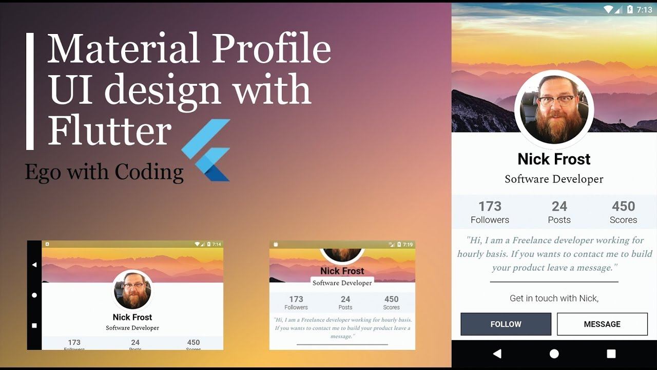 slcoder - Ego with Coding: Beautiful user profile material UI with