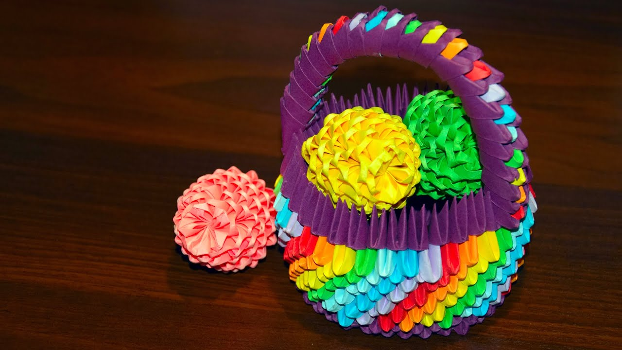 3d origami easter egg to the basket of paper tutorial