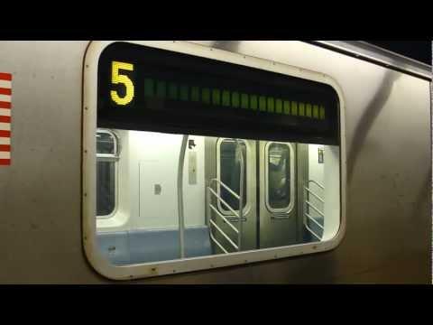 IRT Eastern Parkway Line: R142 5 Train at Borough Hall (Manhattan Bound)