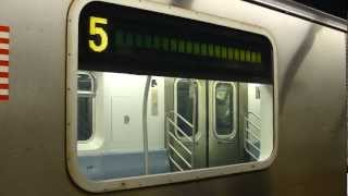 IRT Eastern Parkway Line: R142 5 Train at Borough Hall (Manhattan Bound)