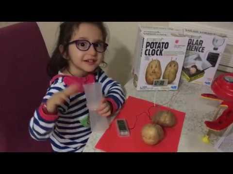 Çocuklar için patatesten elektrik üreten deneyi yapıyoruz, enerji üreterek saati çalıştırıyoruz,