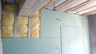 гипсокартон, выравнивание стен по каркасу, в два слоя. Plasterboard Wall.