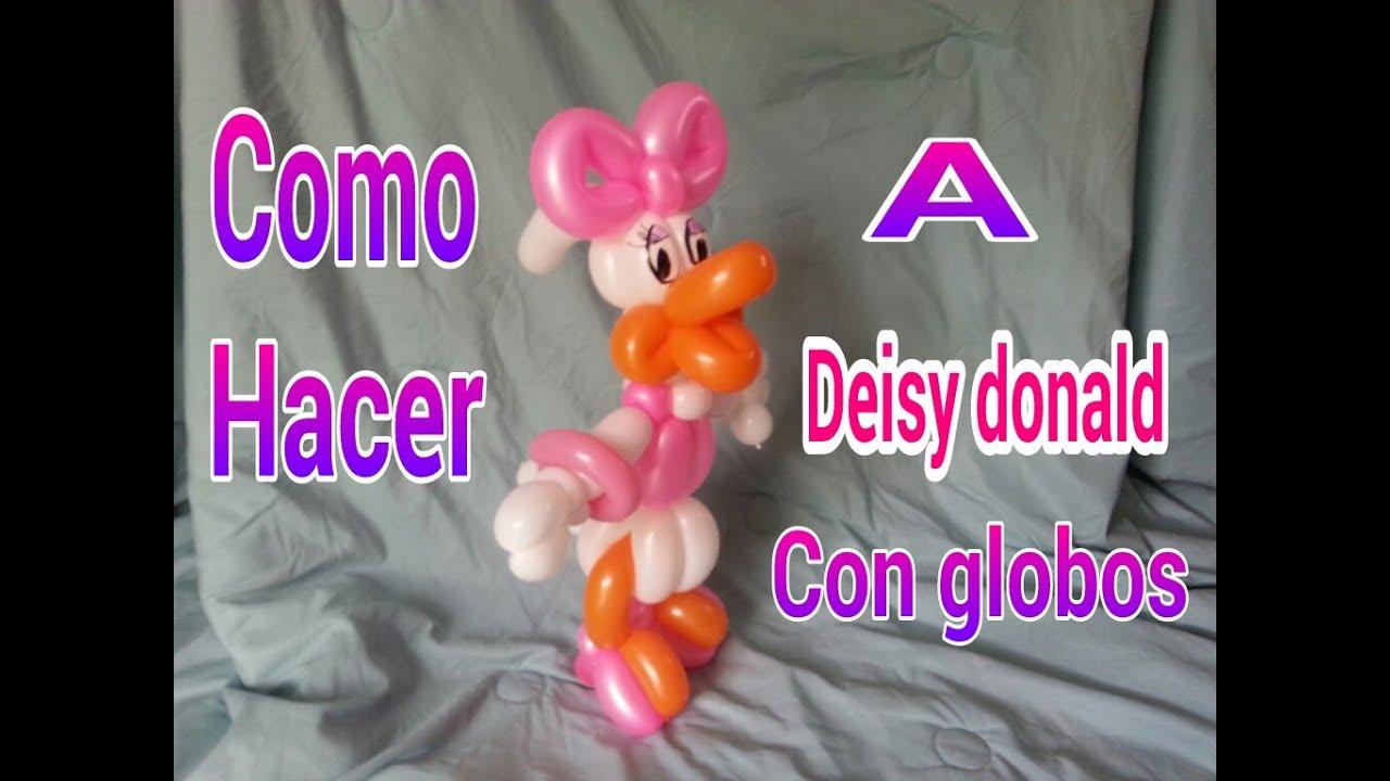 Como hacer a deisy donald con globos - YouTube