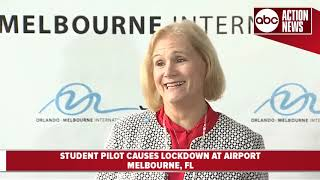 Student pilot causes lockdown at Orlando Melbourne International Airport | 7:30AM Press Conferenece