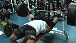 "Greg ""Mutant"" Doucette Bench Press 5 plates 3 reps paused XXL slingshot 5 weeks out"