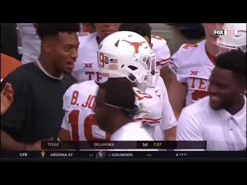Brandon Jones intercepts Kyler Murray's pass. 19 Texas vs 7 Oklahoma October 9 2018