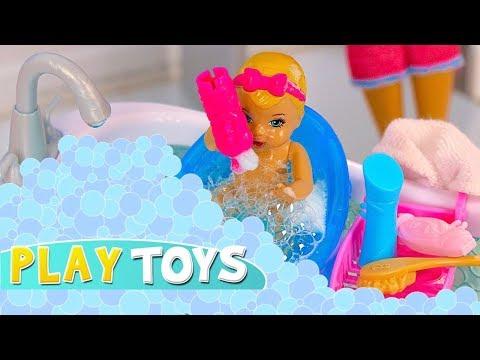 Barbie Baby Doll Play Hide n Seek in Bubbles Glam Barbie Bathroom! Silly dolls pretend play parody