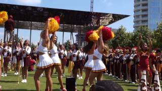 usc spirit of troy song girls and silks at the dallas pep rally