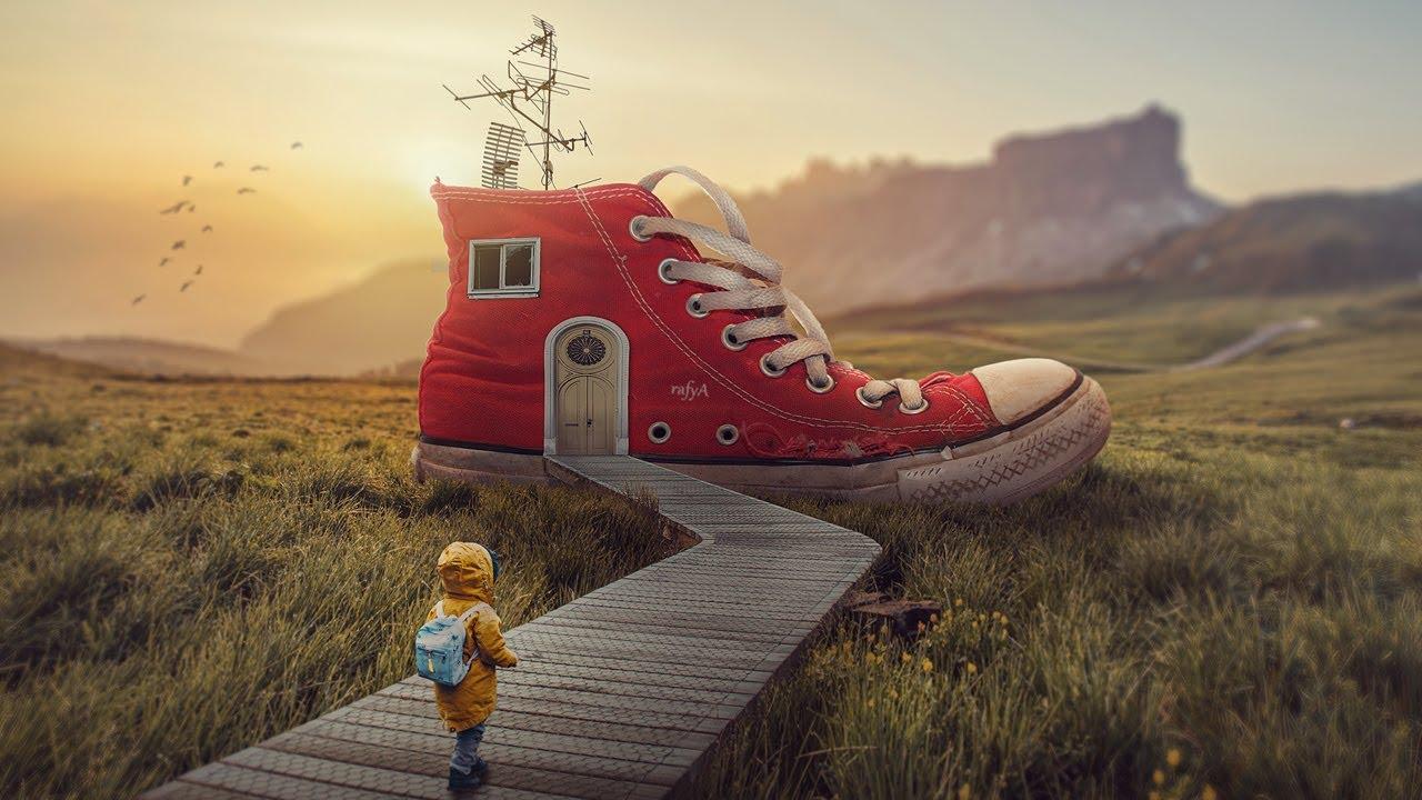 My Shoe House Photoshop Manipulation Tutorial Compositing
