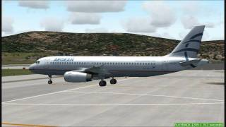 FS2004 A320 Aegean Airlines Landing at Samos Airport