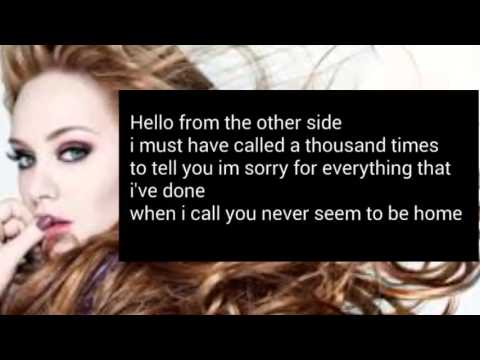 Hello Adele Lyrics Audio Adele Hello Lyrics Youtube Youtube