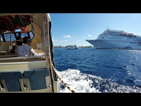 Cruise Ship Lifeboat Tender - What It Was Like to Grand Cayman Port (4K)