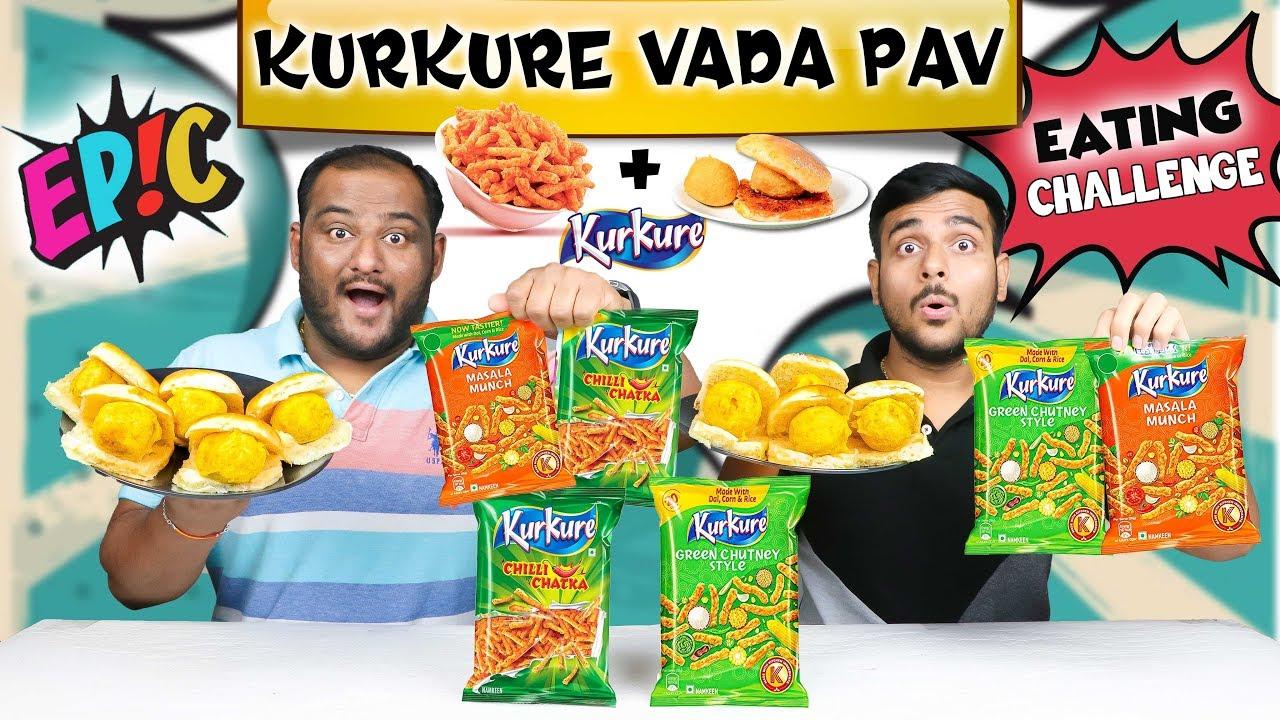 EPIC KURKURE CHEESE VADA PAV EATING CHALLENGE | Kurkure Vada Challenge | Kurkure Eating Competition