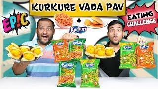 EPIC KURKURE CHEESE VADA PAV EATING CHALLENGE   Kurkure Vada Challenge   Kurkure Eating Competition