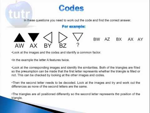 11 Plus Non Verbal Reasoning Exam Practice Questions - Codes - YouTube