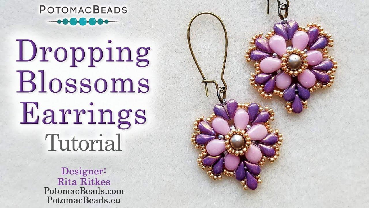 Dropping Blossoms Earrings Beadweaving Tutorial