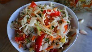 Маринованная Капуста Быстрого Приготовления! Вкуснейший Овощной салат! Marinated Cabbage