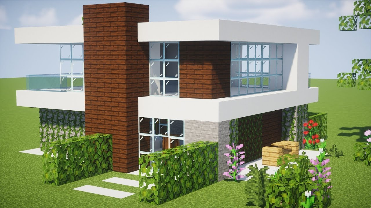 Minecraft tutorial como fazer uma casa moderna youtube for Casa moderna minecraft 0 10 4