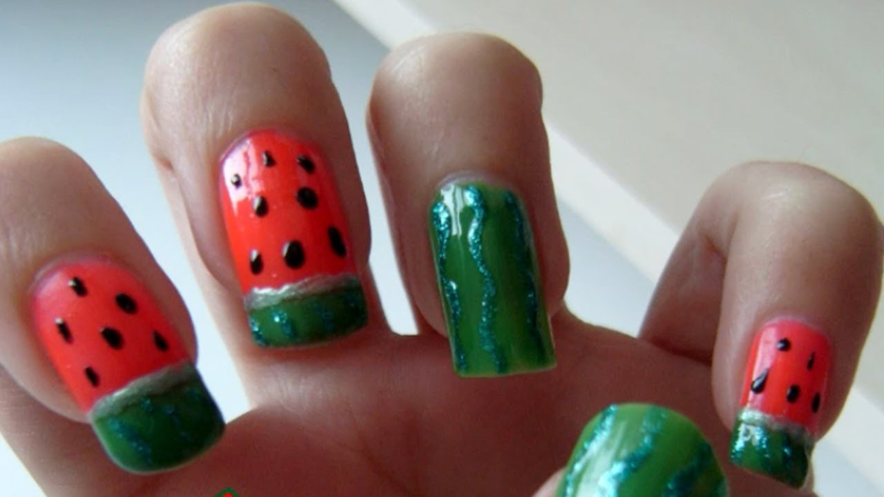 Watermelon Nail Art Tutorial Youtube