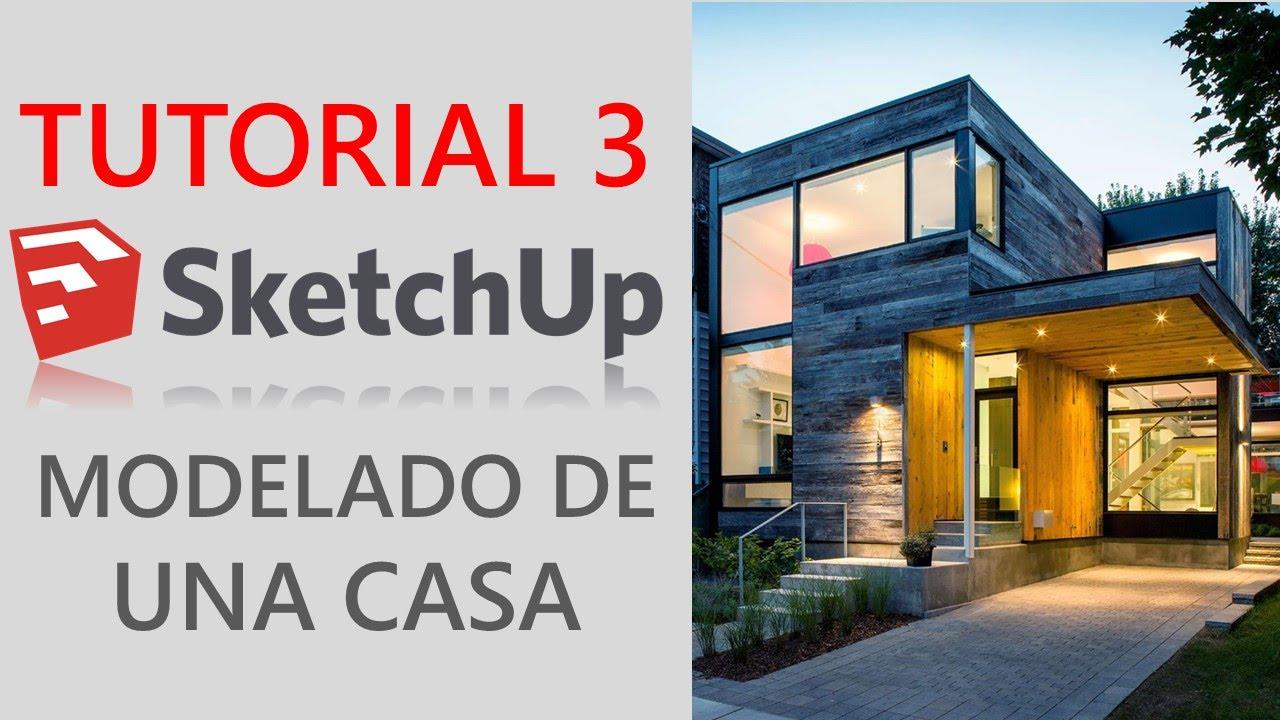 Tutorial 3 sketchup 2016 modelado de casa moderna youtube for Casa moderna sketchup download