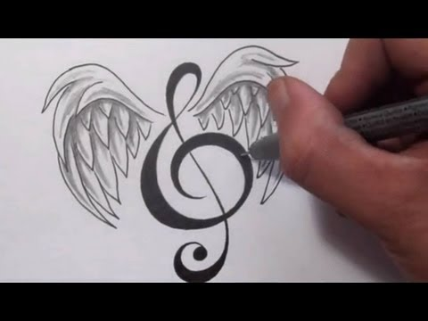 Music Tattoos-Designing a Treble Clef With Wings