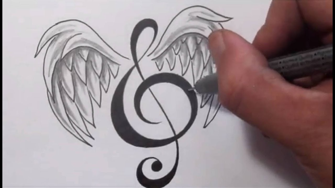 Music Tattoos - Designing Treble Clef With Wings