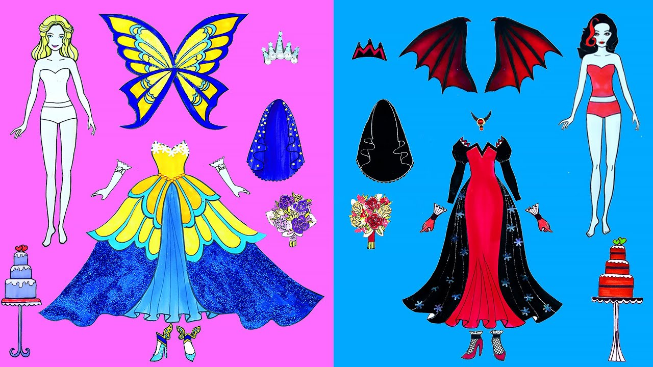 Paper Dolls Dress Up Wedding Vampire and Butterfly Simple Papercrafts Dresses Handmade Quiet Book