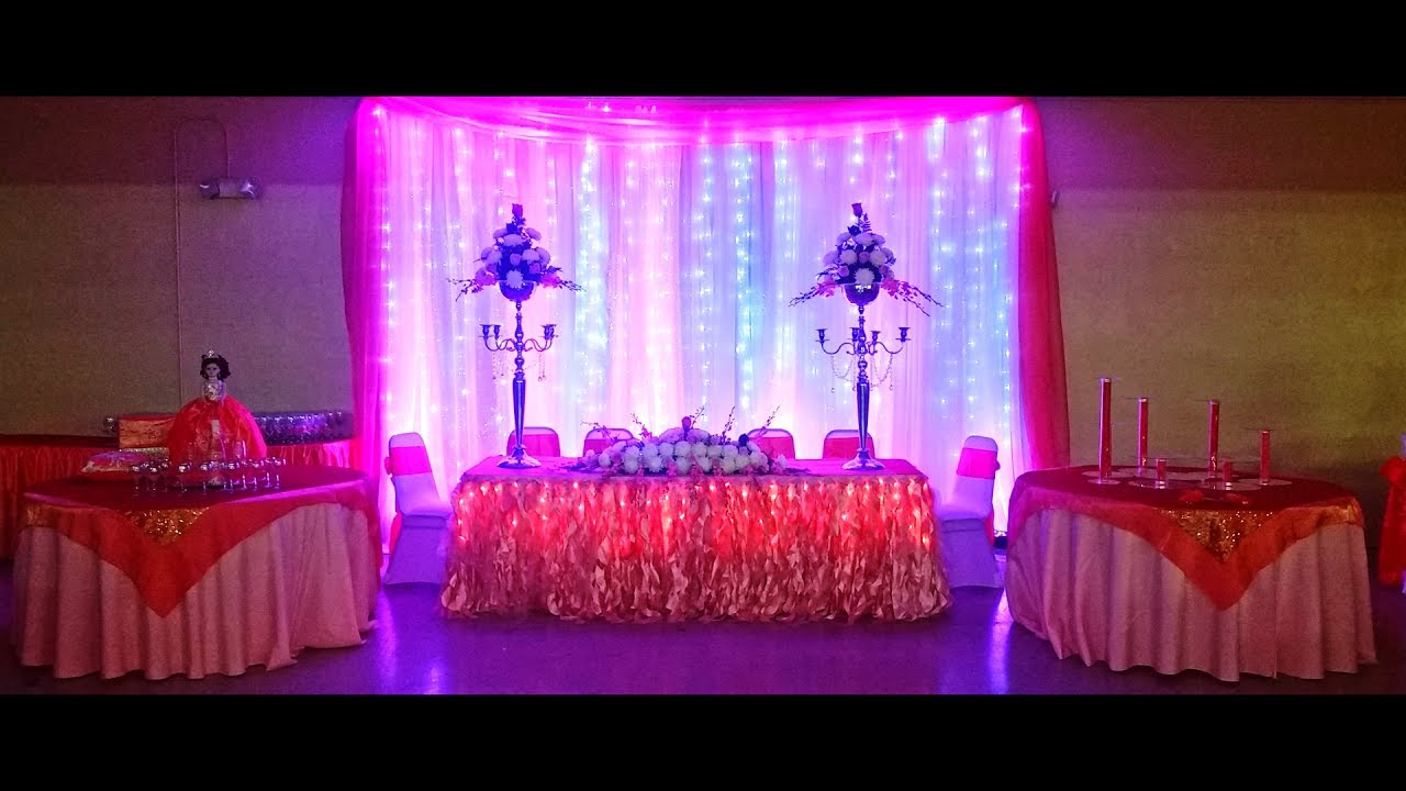 Decoracion de 15 a os color coral youtube for Adornos de quince anos