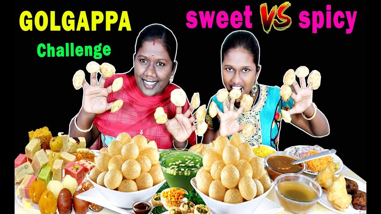 GOLGAPPA/PANI PURI WITH SWEET vs SPICY CHALLENGE IN TAMIL FOODIES DIVYA vs ANUSHYA