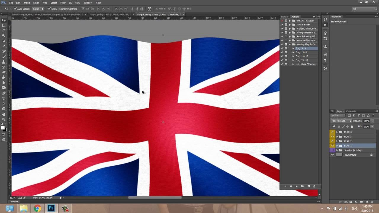 waving flag photoshop effect