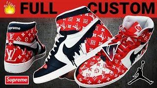 "Full Custom | LV Supreme Drip ""Homage To Home"" Style Jordan 1s by Sierato"