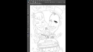 Drawing a wedding caricature in Photoshop