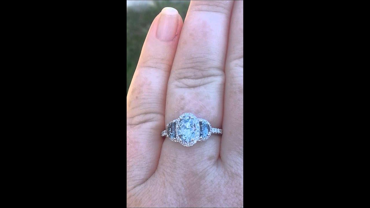 precision cut supernova oval ceylon gray spinel three stone diamond halo engagement ring