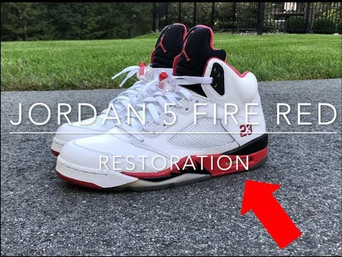 CLEANING FIRE RED JORDAN 5'S!!