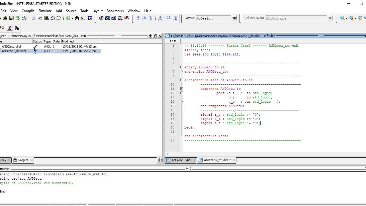 Curso VHDL V28 1 Uso sencillo del ModelSim TestBench para la AND2ecu