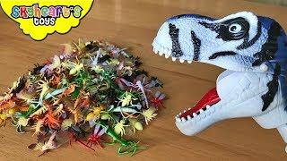 DINO CHOMPERS EATING INSECTS! Skyheart Animal dinosaur toys grabber kids playtime