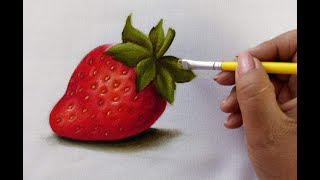How to Paint a Strawberry / Como Pintar Una Fresa