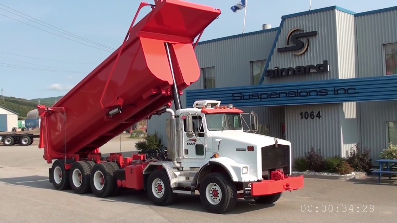 dramis d55t kenworth t800 chassis load unload cycle mining truck [ 1280 x 720 Pixel ]