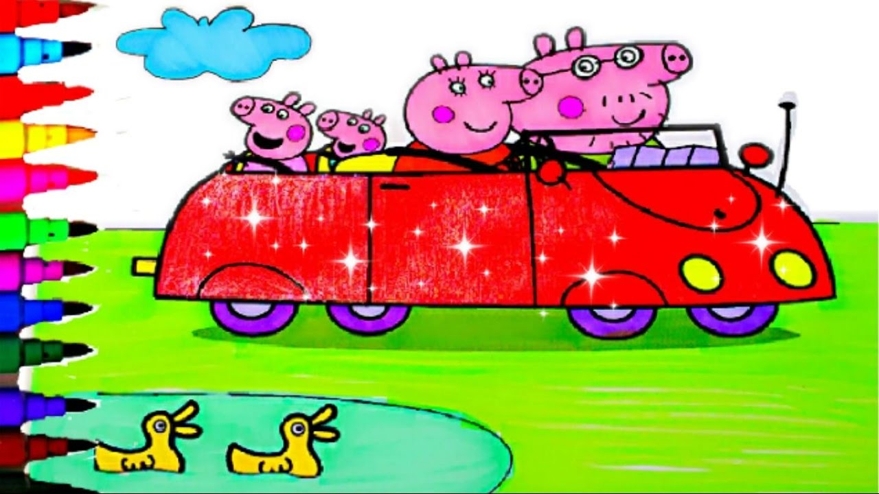 Peppa Pig Car Best Coloring Book Pages Videos For Kids Fun Art Sparkle Red