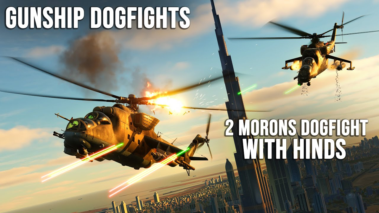 2 Morons Dogfight in Mi-24 Hinds | Gunship Dogfights | Digital Combat Simulator | DCS |