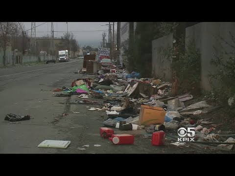 Trash From Homeless Encampment Piles Up Right Next To Oakland High School