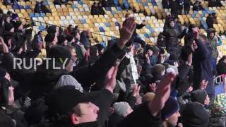 Ukraine  Dynamo Kiev fans burn Turkish flags at Bestikas match