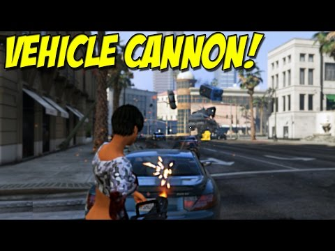 """Vehicle Cannon Mod! - """"Car Gun"""" For Grand Theft Auto 5 PC ( Mod Review )"""