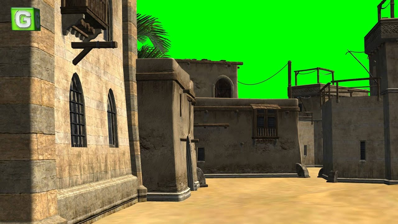 desert city green screen video background 02 - YouTube