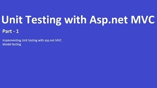 Unit Testing with Asp.net MVC - Testing with Models
