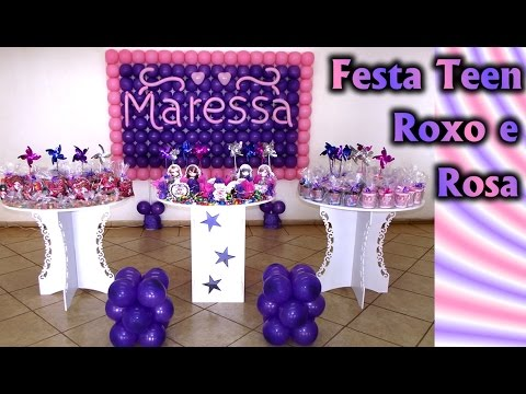 Festa Rosa e Roxo Provençal / Clean Aniversário -  Infantil / Teen / Jovem /Adulto Decoração