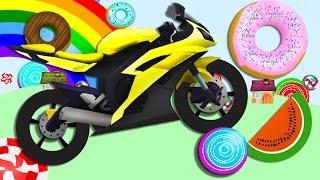 Мотоцикл и сладости изучение цифр и размеров Развивающие мультики для детей про машинки