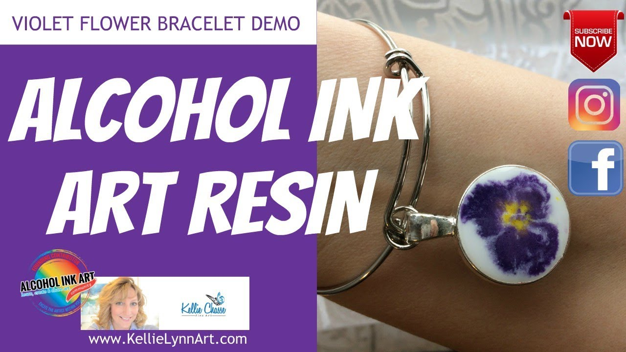 Alcohol Ink Art Techniques For Resin Jewelry Making Violet Flower - Coloring resin with alcohol ink